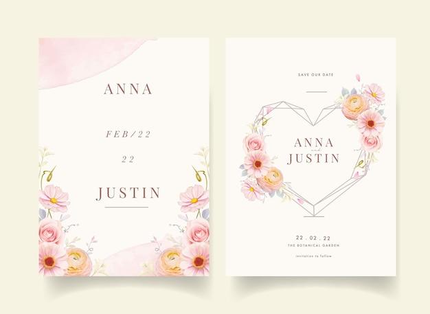 水彩ピンクのバラとラナンキュラスの花の結婚式の招待状