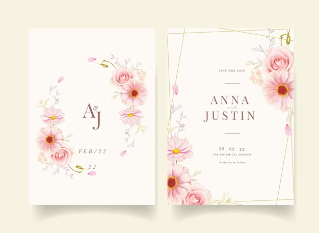 수채화 핑크 장미와 꽃이 만발한 청첩장
