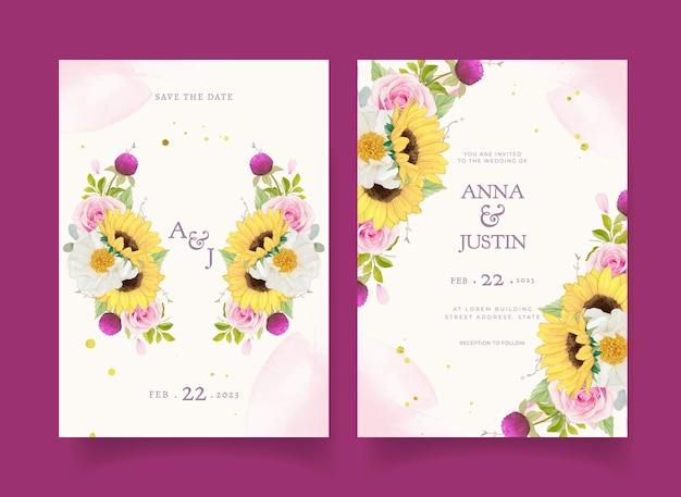 水彩ピンクのバラとひまわりの結婚式の招待状
