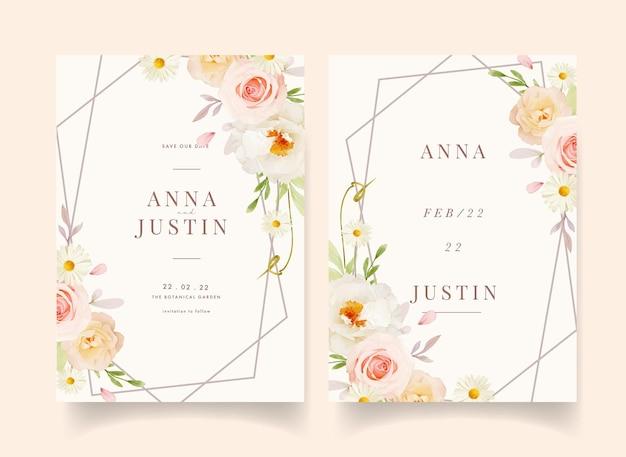 Приглашение на свадьбу с акварельными розовыми розами и белым пионом