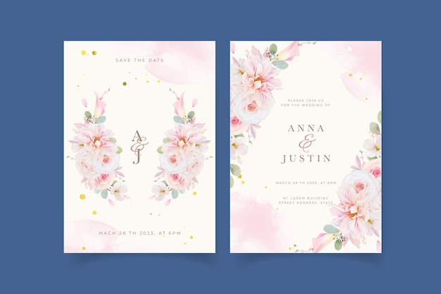 수채화 핑크 장미 달리아와 백합 꽃 결혼식 초대장