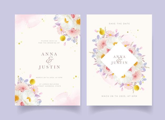 수채화 핑크 장미 달리아와 모란 꽃 결혼식 초대장