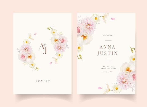 수채화 핑크 장미 달리아와 흰 모란 청첩장