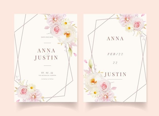 Приглашение на свадьбу с акварельными розовыми розами георгином и белым пионом