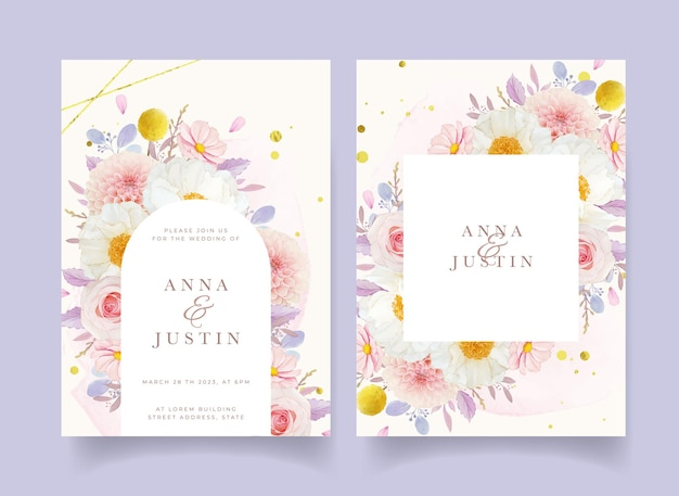 Wedding invitation with watercolor pink roses  dahlia and peony flower