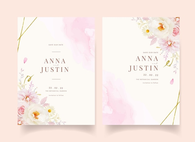 Wedding invitation with watercolor pink roses dahlia and white peony