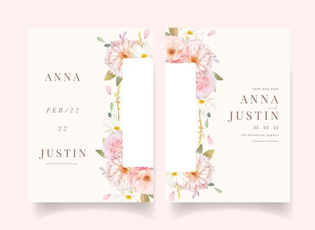 Invito a nozze con rose rosa dell'acquerello e dalia