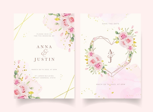 Wedding invitation with watercolor pink roses and gold ornament