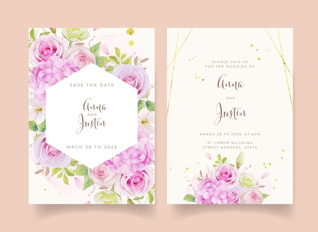 Wedding invitation with watercolor pink roses and hydrangea flower