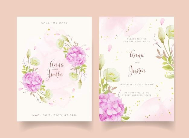 Invito a nozze con rose rosa acquerellate e fiore di ortensia