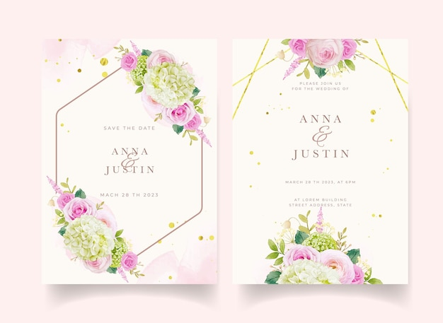 Wedding invitation with watercolor pink roses and hydrangea