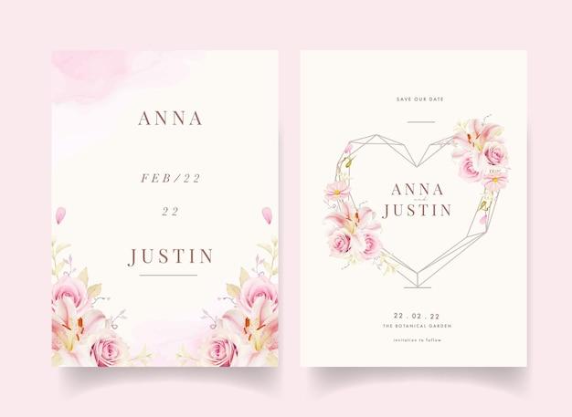 Приглашение на свадьбу с акварельными розовыми розами, лилией и каллой