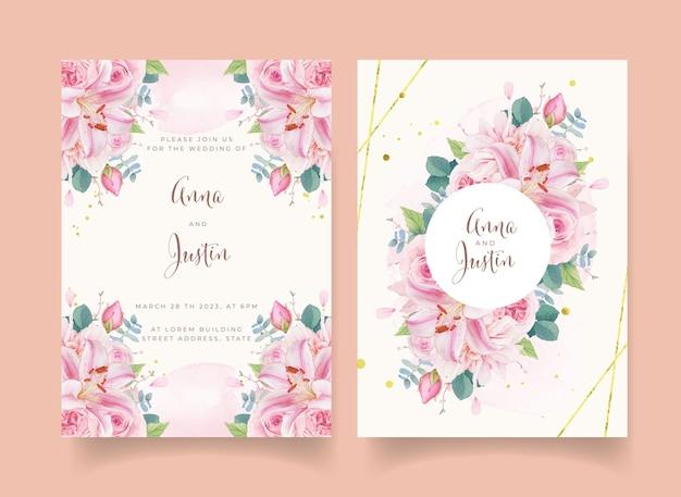 Приглашение на свадьбу с акварельными розовыми розами, лилией и георгином