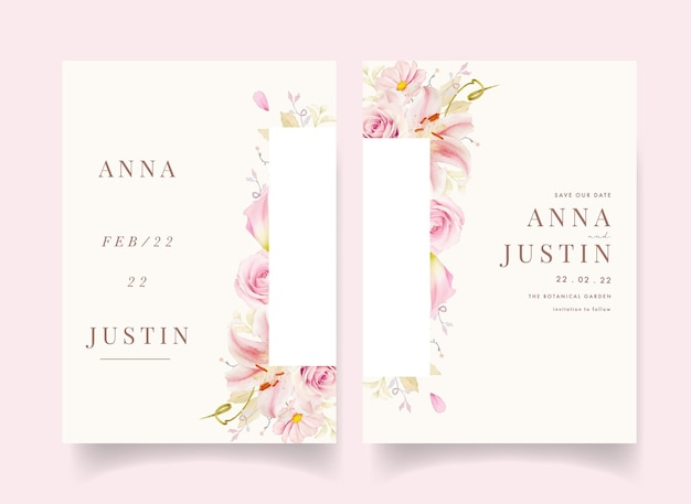 Wedding invitation with watercolor pink roses lily and calla lily