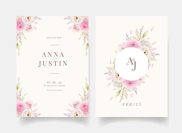 水彩ピンクのバララナンキュラスとダリアの結婚式の招待状