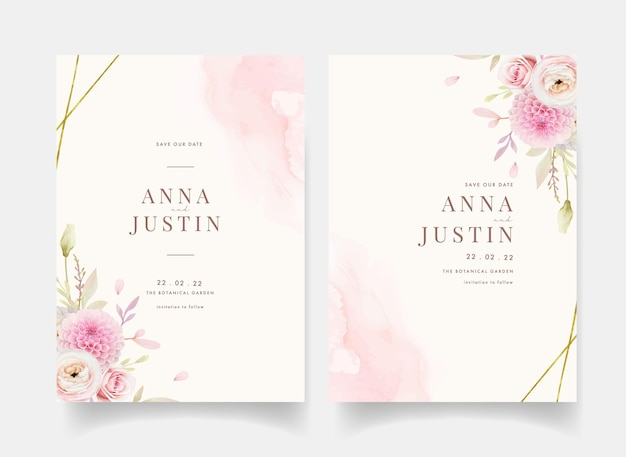 Wedding invitation with watercolor pink roses ranunculus and dahlia