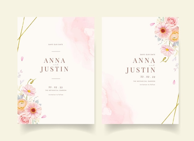 Wedding invitation with watercolor pink roses and ranunculus flower
