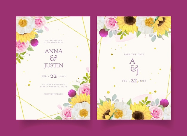 Wedding invitation with watercolor pink roses and sunflower