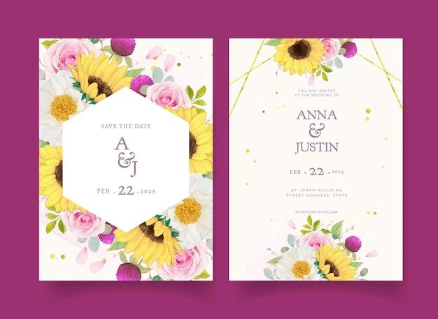 Invito a nozze con rose rosa acquerello e girasole