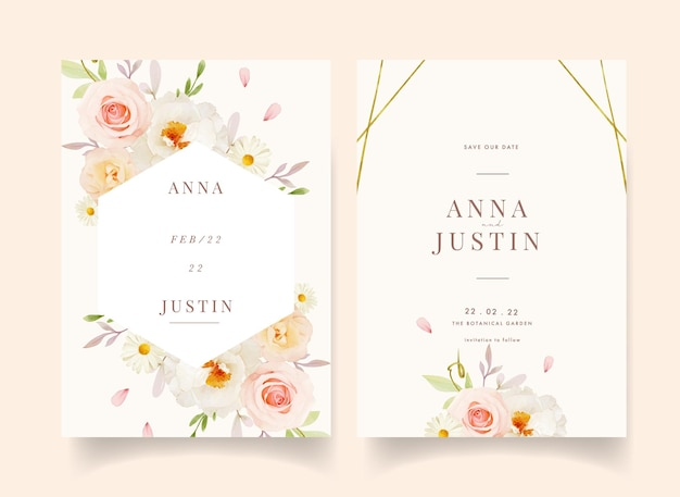 Wedding invitation with watercolor pink roses and white peony