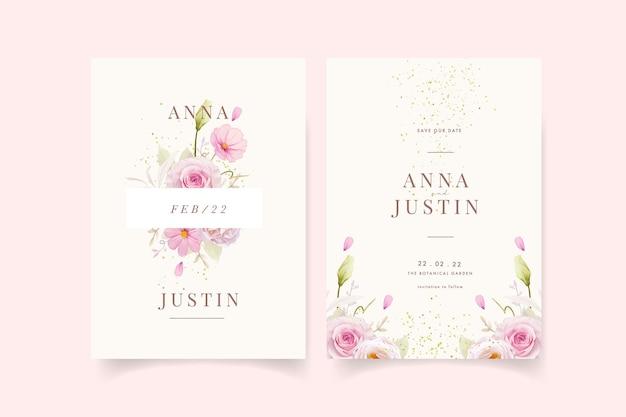 水彩ピンクのバラと結婚式の招待状