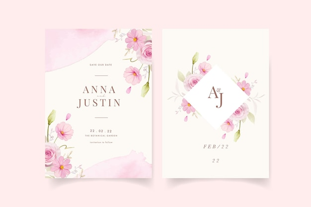 Wedding invitation with watercolor pink roses