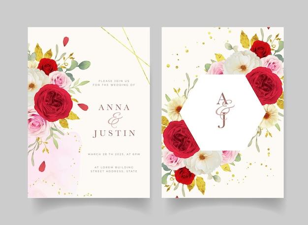 水彩ピンクの白と赤のバラの結婚式の招待状