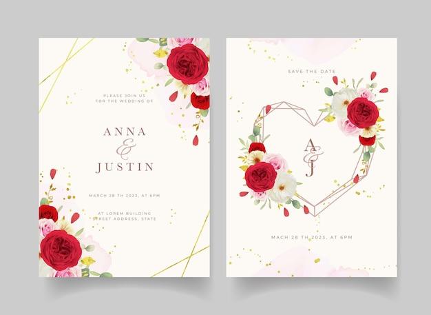 Приглашение на свадьбу с акварельными розовыми белыми и красными розами