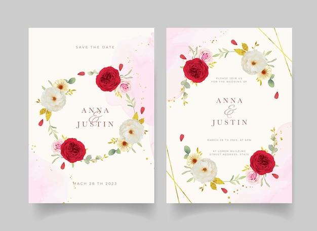 수채화 핑크 흰색과 붉은 장미와 청첩장