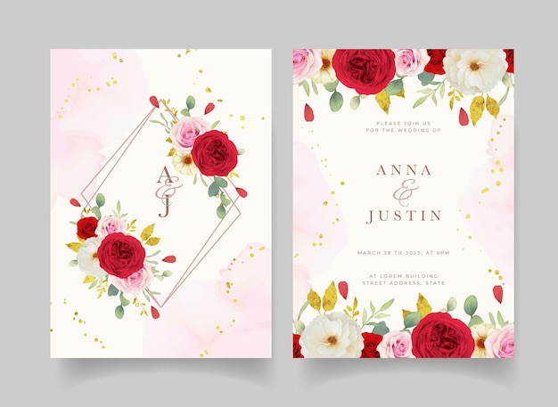 Wedding invitation with watercolor pink white and red roses