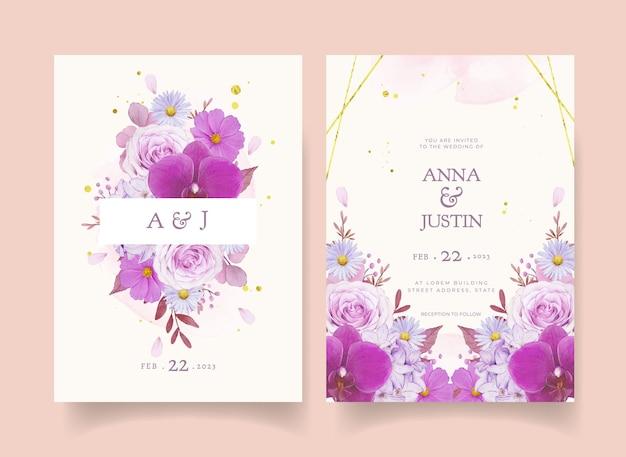 수채화 보라색 장미와 난초 청첩장