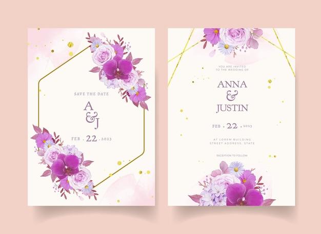 Приглашение на свадьбу с акварельной фиолетовой розой и орхидеей