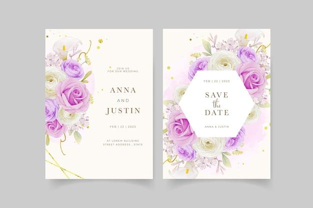 Приглашение на свадьбу с акварельной фиолетовой розовой лилией и цветком лютик