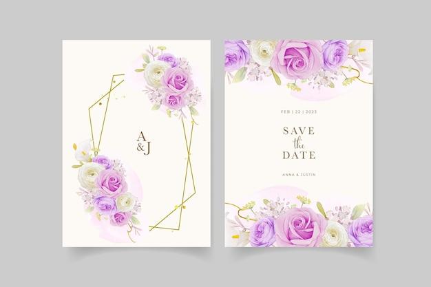 수채화 보라색 장미 백합과 꽃 꽃 청첩장