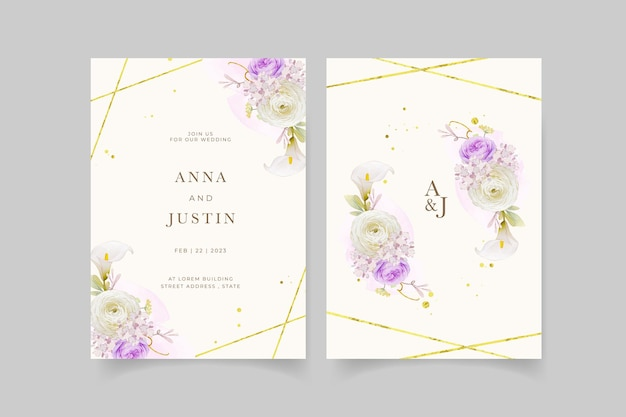 水彩の紫色のバラのユリとラナンキュラスの花の結婚式の招待状