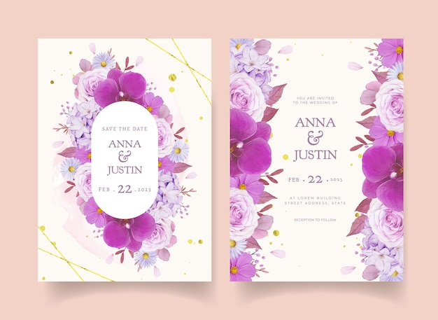 Wedding invitation with watercolor purple rose and orchid