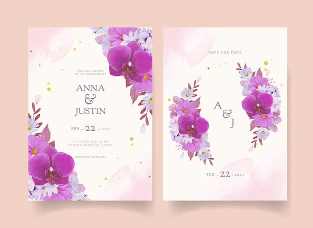 Invito a nozze con rosa viola acquerello e orchidea