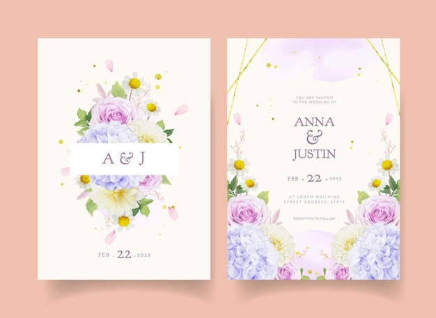 Wedding invitation with watercolor purple roses dahlia and hydrangea flower