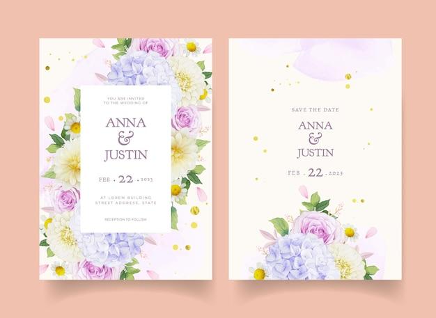 Invito a nozze con rose viola acquerello dalia e fiore di ortensia