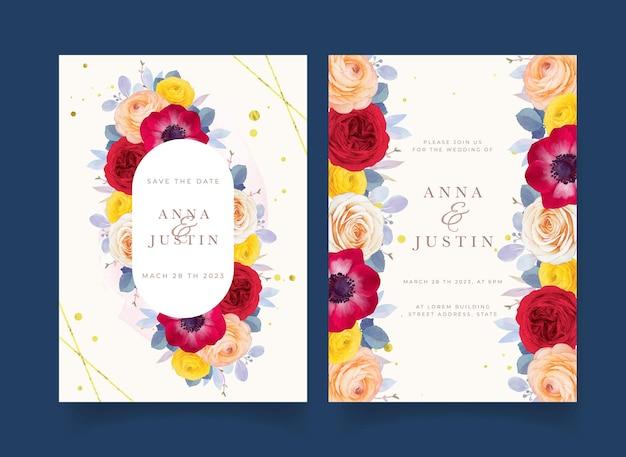 수채색 붉은 장미 말미잘과 라넌큘러스 꽃이 있는 청첩장