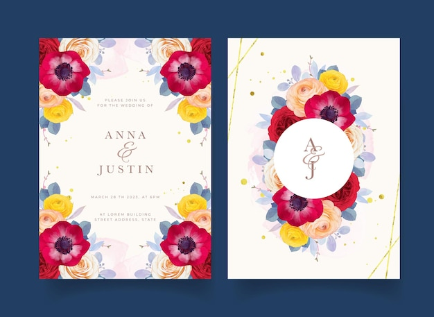 Wedding invitation with watercolor red rose anemone and ranunculus flower