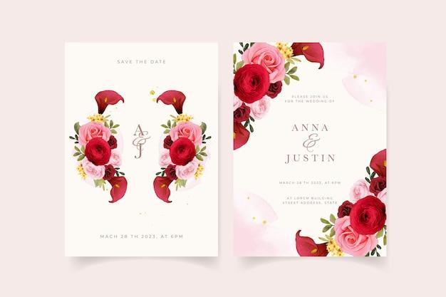 수채화 빨간 장미 백합과 꽃 꽃 청첩장