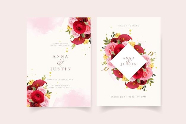 水彩の赤いバラのユリとラナンキュラスの花の結婚式の招待状