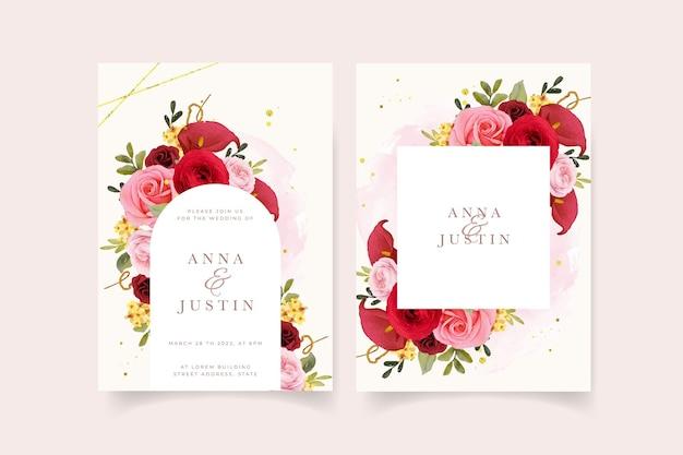 Invito a nozze con giglio di rosa rossa dell'acquerello e fiore di ranuncolo
