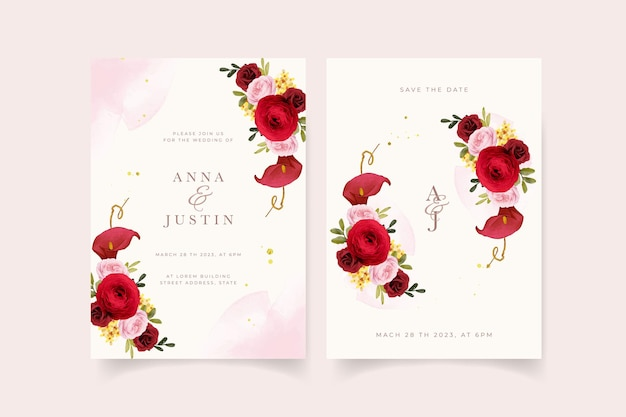Wedding invitation with watercolor red rose  lily  and ranunculus flower