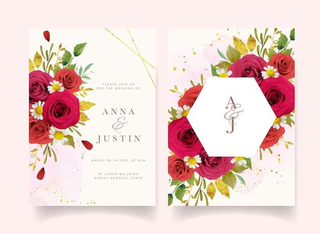 水彩の赤いバラと結婚式の招待状
