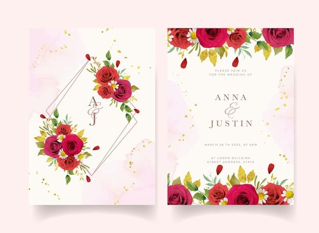 Приглашение на свадьбу с акварельными красными розами