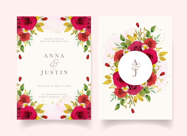 Wedding invitation with watercolor red roses