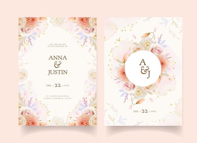 水彩のバラとダリアの花の結婚式の招待状