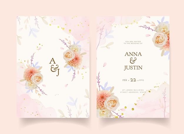 수채화 장미와 달리아 꽃 청첩장